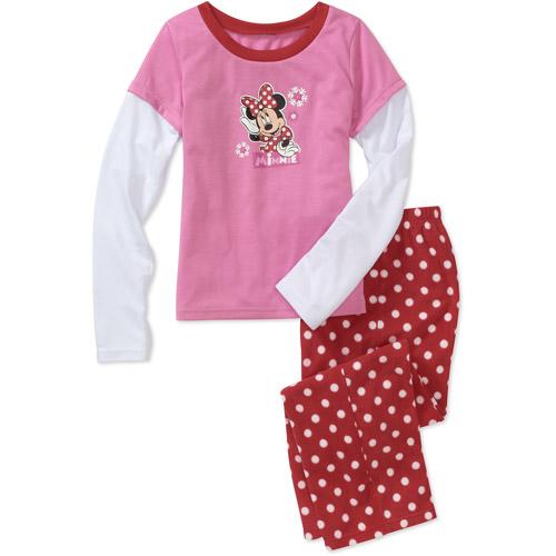 Disney Girls' Minnie Mouse 2 Piece Hangdown and Pant Pajama Set