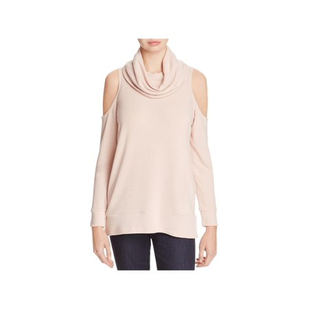 Cupcakes and Cashmere Womens Cold Shoulder Knit Pullover Top Pink M