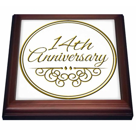 3drose 14th Anniversary Gift Gold Text For Celebrating Wedding