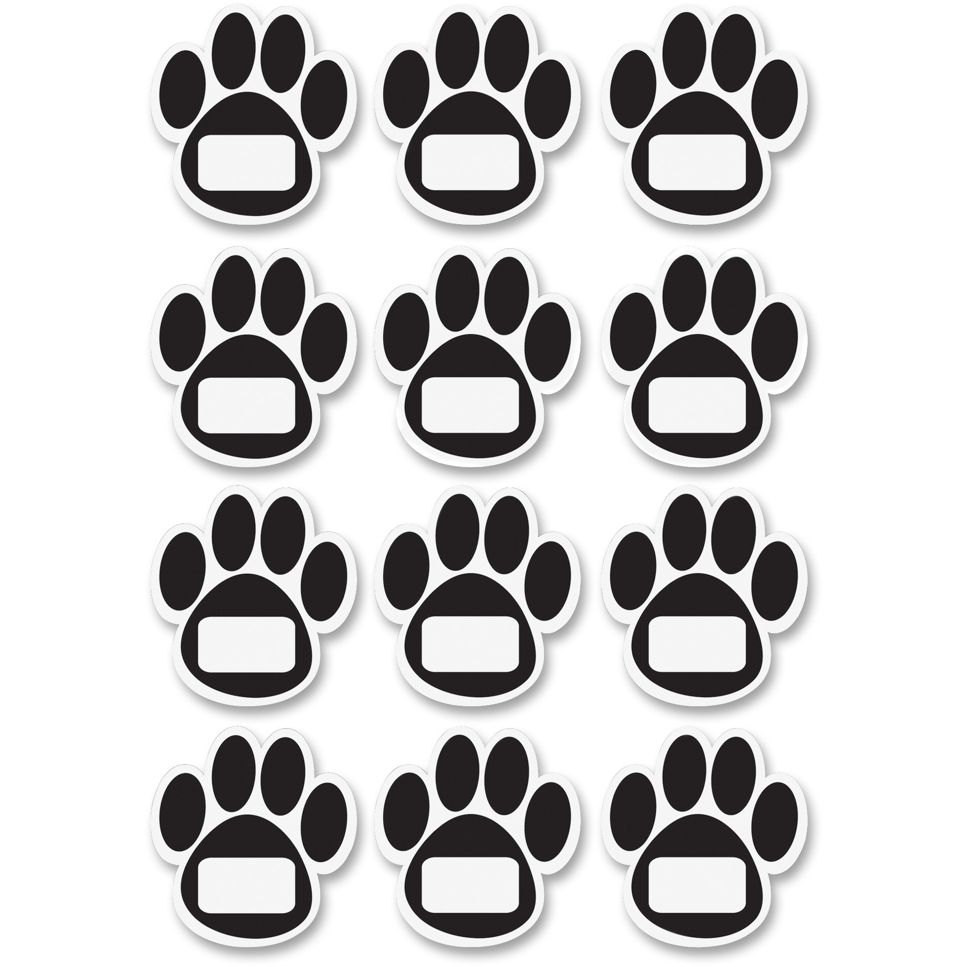 Ashley, ASH10104, Paw Design Dry-erase Magnets, 1 Set, Black,White