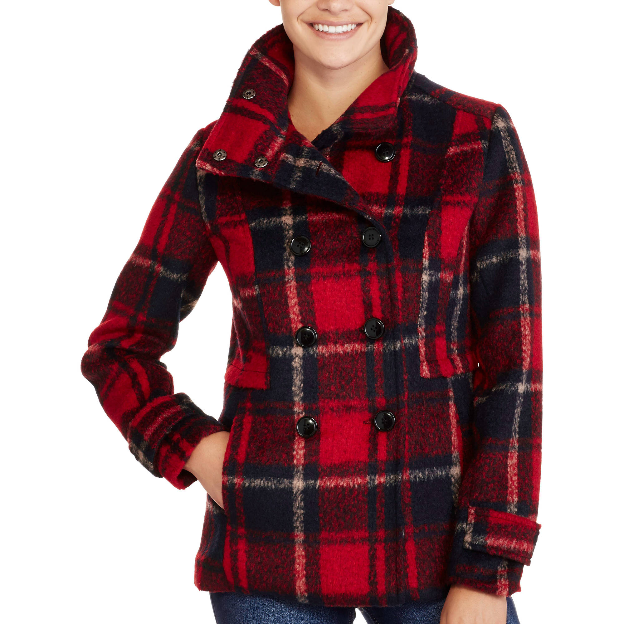 Women's Essential Faux Wool Peacoat With Stand Collar