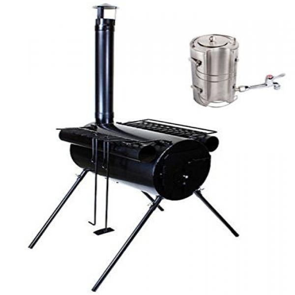 Portable Military Camping Ice Fishing Cook Wood Stove Tent Heater With Water Kettle
