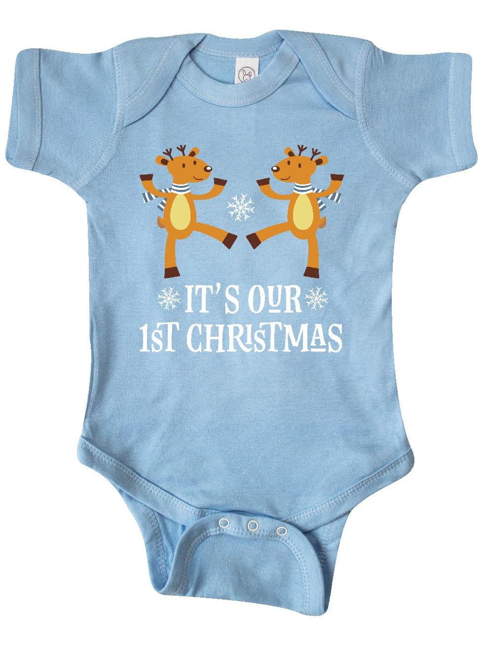 inktastic Babys 1st Christmas Holiday Reindeer Long Sleeve Creeper