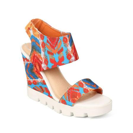 Liliana EK73 Women Tribal Open Toe Slingback Lug Sole Wedge Sandal