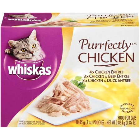 (10 Pack) Whiskas Purrfectly Chicken Variety Pack Wet Cat Food, 3 oz.