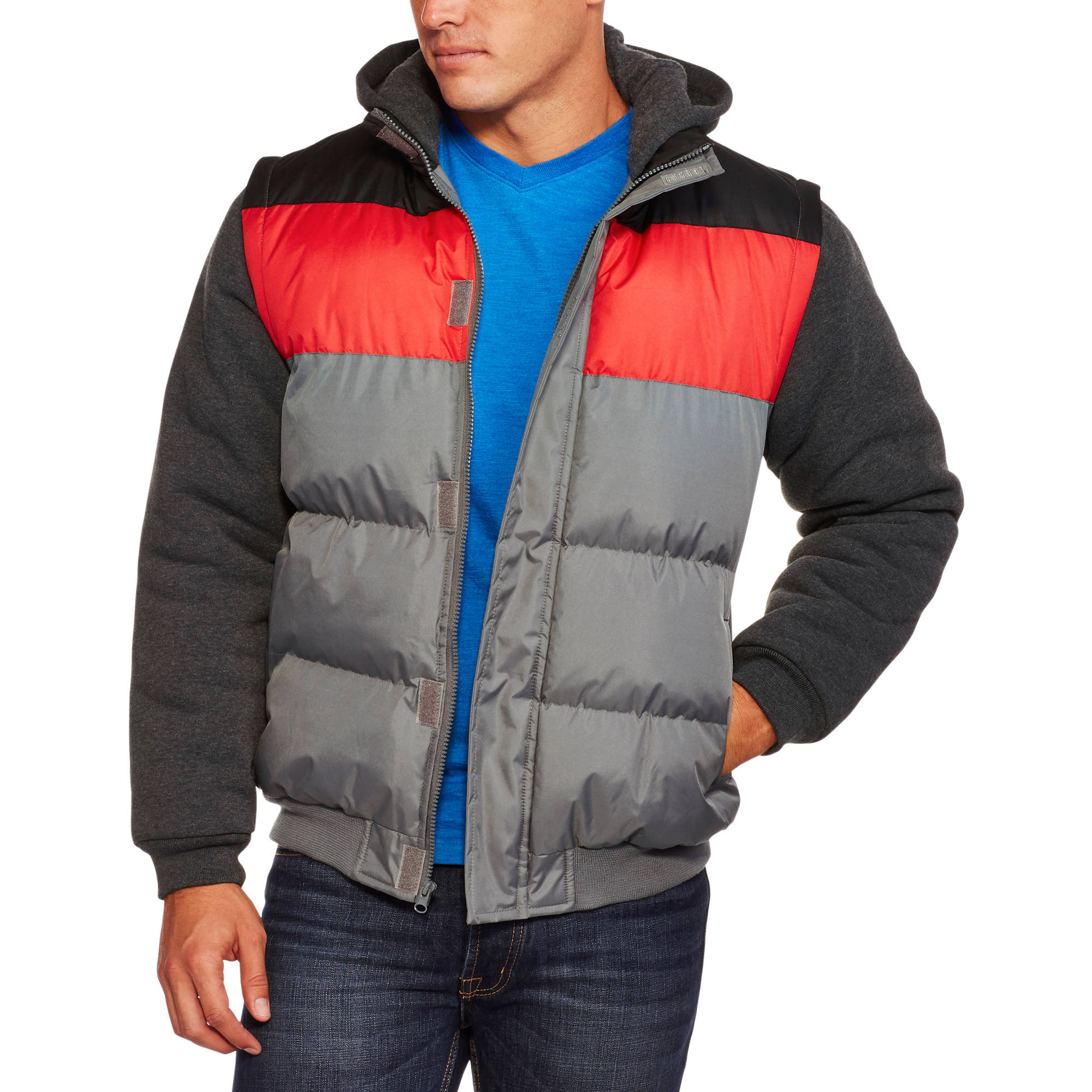 Climate Concepts Men's Bubble Jacket with Fleece Sleeves and Hood