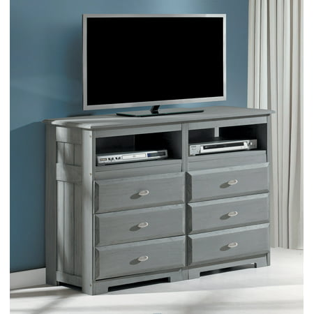 American Furniture Classics Solid Pine Entertainment Dresser with Six Drawers and Two Component Areas in (Entertainment Chest)