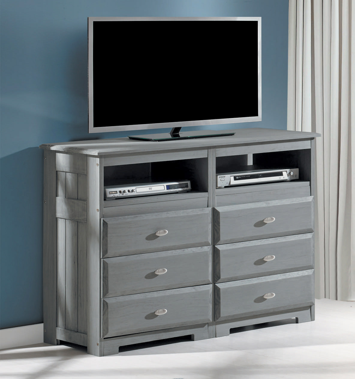 American Furniture Classics Solid Pine Entertainment Dresser with Six Drawers and Two Component Areas in Charcoal