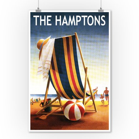 The Hamptons, New York - Beach Chair and Ball - Lantern Press Artwork (9x12 Art Print, Wall Decor Travel Poster)