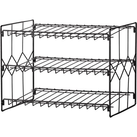 Can Storage Organizer Rack, 3-Tier Storage and Space Saving Pantry or Kitchen Solution, Black ()