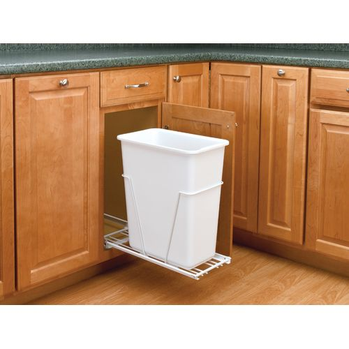 Rev-A-Shelf VL-9PB Value Line Series Bottom Mount Single Bin Trash Can with Euro Slides - 30 Quart Capacity