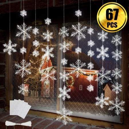4 Piece Christmas Decoration (63 Pieces 4 Sizes White Christmas Snowflake Decorations Snowflake Ornaments Garland, for Home Christmas Holiday Party)