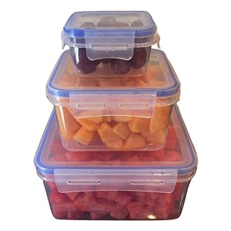 Lock & Stock Food Storage Containers, 3 Square Container Food Storage Set