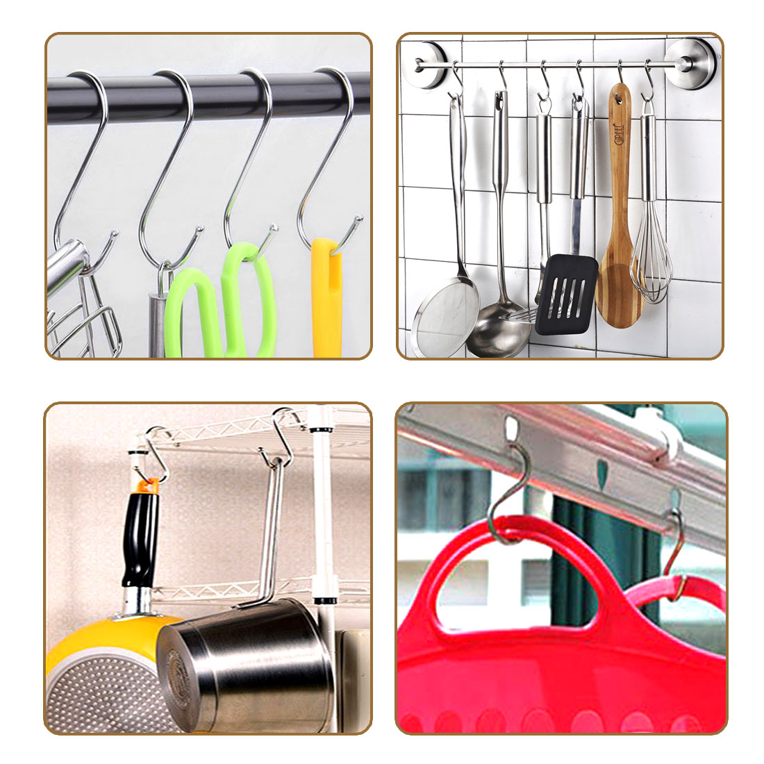 "Metal S Hooks 3.15"" S Shaped Hook Hangers for Kitchen Bathroom Bedroom Storage Room Office Outdoor Multiple Uses 20pcs - image 1 de 4"