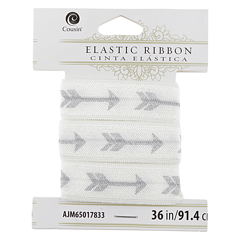 Cousin Elastic Ribbon 36 inches Gray Arrows