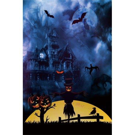Halloween Grimas (GreenDecor Polyester 5x7ft Photography Studio Backdrops Girl Toddler Photo Shoot Background Halloween Scary Grimace Pumpkin Horrible Ghost Bat Gloomy Moon)