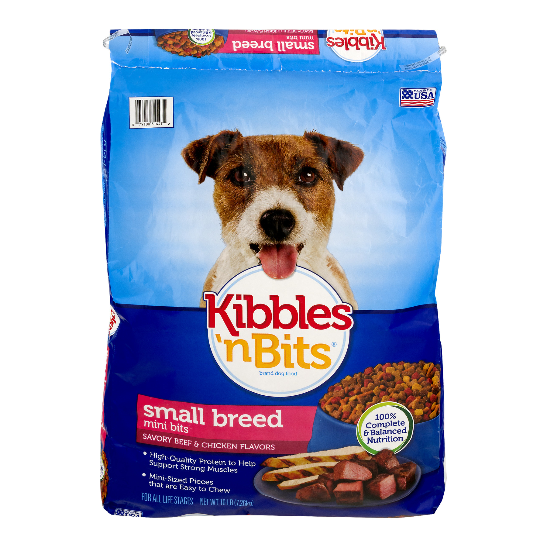 Kibbles 'n Bits Mini Bites Small Breed Savory Beef and Chicken Flavors Dog Food, 16-Pound by Big Heart Pet Brands