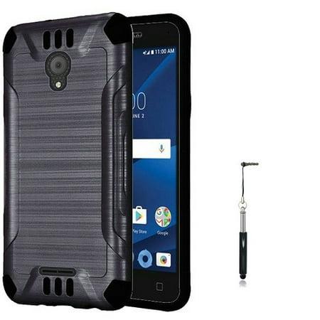 Xcite Fitted Case (Phone Case for Alcatel Raven LTE, AT&T PREPAID Alcatel idealXCITE, Alcatel ideal xCITE Case, Alcatel Cameo X Case Metallic Brush Finish Cover Case + Stylus Pen (Black) )