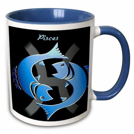 3dRose Pisces Zodiac Sign - Two Tone Blue Mug, 11-ounce Pisces Zodiac Mug