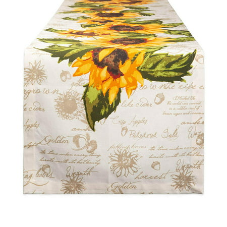 DII Rustic Sunflowers Printed Table Runner 14x108, 14x108
