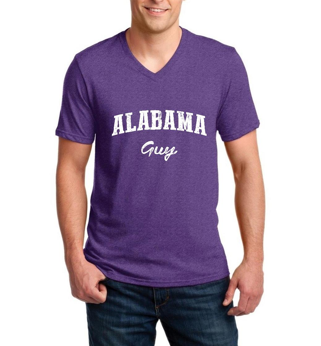 J_H_I AL Guy Yellowhammer Montgomery Flag Map Home of University of Alabama AU Men V-Neck Shirts Ringspun