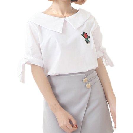 Short Sleeve Bow Tie - Babula Women Short Sleeve Casual Bow Tie OL Shirt Blouses