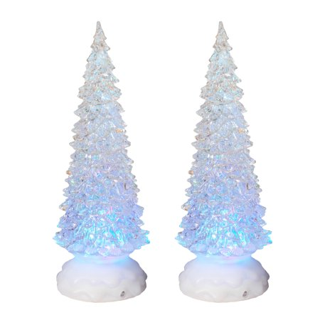 battery operated acrylic spinning christmas tree set of 2
