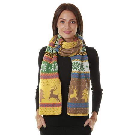 GILBIN'S Womens Winter Christmas Tree Reindeer Snowflake Reversible Knit Wraparound Scarf Shawl](Ugly Christmas Scarf)