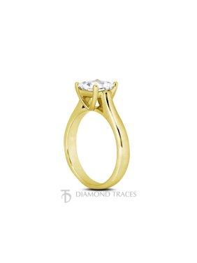 0.53ct J-SI3 Ideal Princess AGI Genuine Diamond 18k Gold Cathedral Ring 2.7mm
