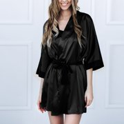 JCXAGRWomen Sexy Black Silk Satin Kimono Robe Lace Bathrobe Lingerie Sleepwear Pajamas
