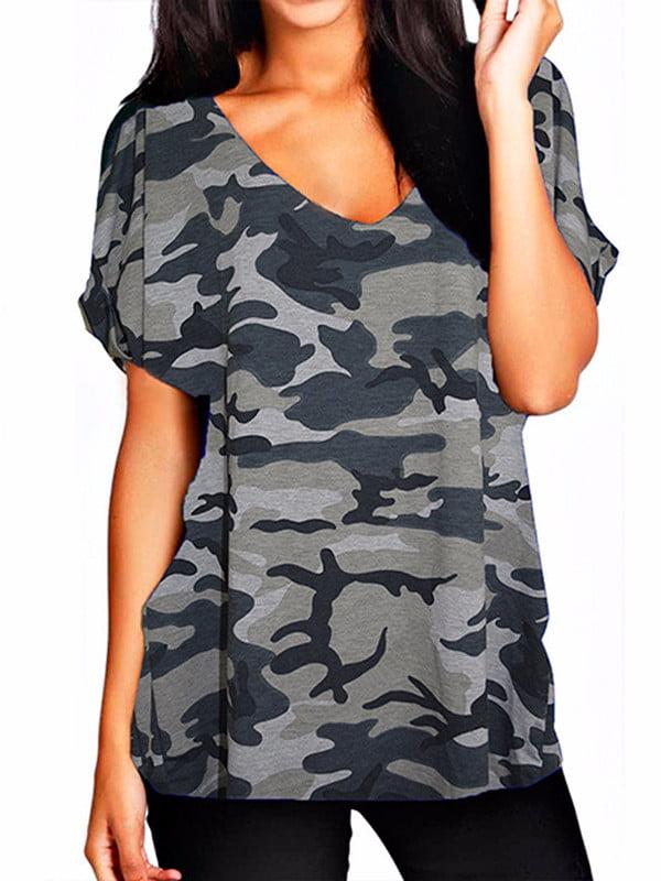 Women's V-Neck Short Sleeve Casual Loose Basic T-Shirts