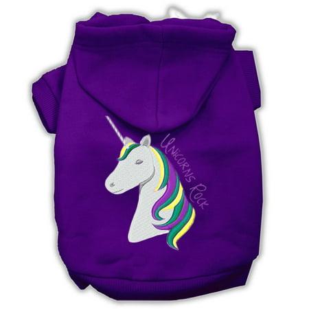 Unicorn Dog (Unicorns Rock Embroidered Dog Hoodie Purple Xs)