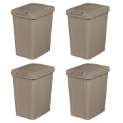 Sterilite 7.5 Gal Touchtop Wastebasket, Taupe Splash (Available in Case of 4 or Single Unit)