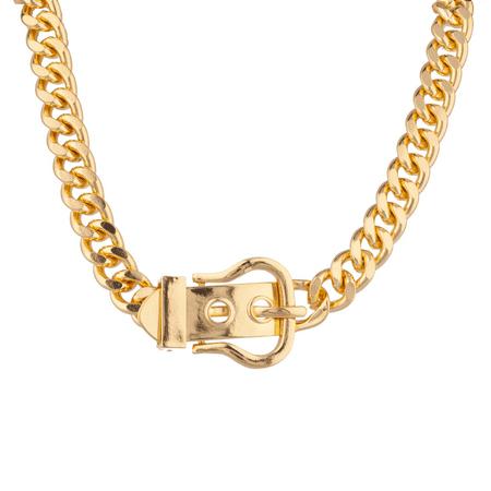 Lux Accessories Belt Buckle Chain Link Statement Necklace