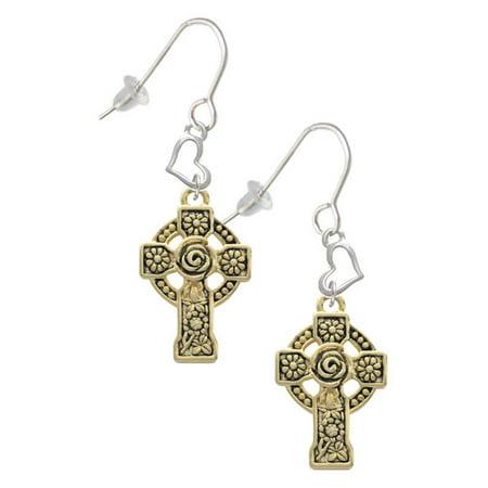 Goldtone Large Celtic Cross Heart French Earrings