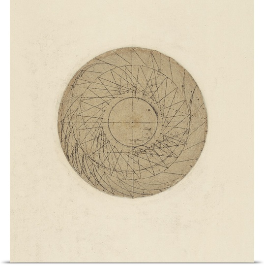 Great BIG Canvas | Rolled Leonardo da Vinci Poster Print entitled Study of water wheel, from Atlantic Codex