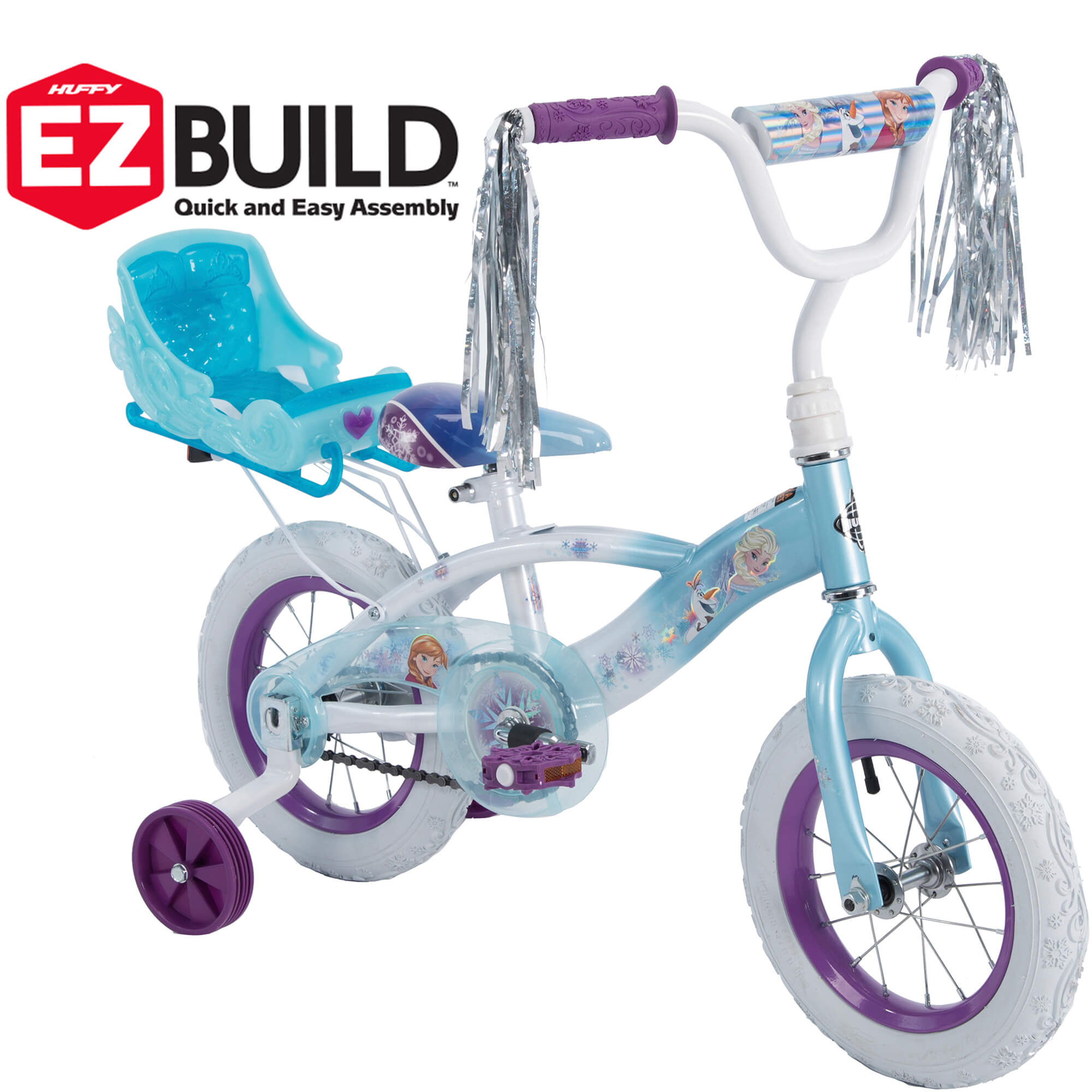 12 In Huffy Girls' Disney Frozen EZ Build Bike with Sleigh Doll Carrier by Huffy by Huffy