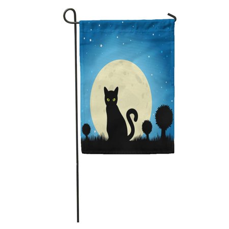 LADDKE Dark Halloween Black Cat Silhouette Against Moon Night Sky Eyes Garden Flag Decorative Flag House Banner 28x40 inch - Silhouette Cat Halloween