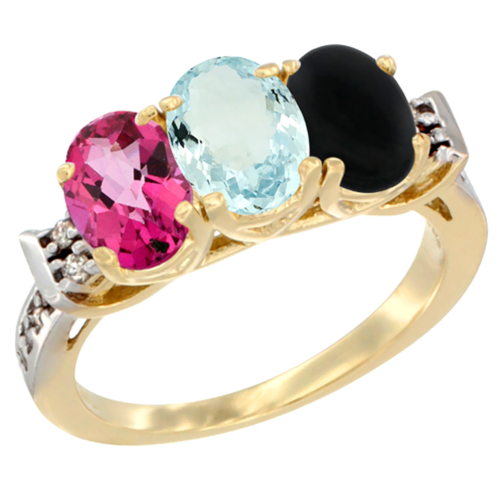 10K Yellow Gold Natural Pink Topaz, Aquamarine & Black Onyx Ring 3-Stone Oval 7x5 mm Diamond Accent, sizes 5 10 by WorldJewels