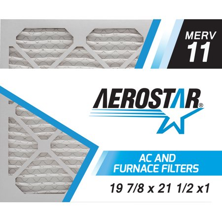 Aerostar 19 7/8x21 1/2x1 MERV 11, Pleated Air Filter, 19 7/8 x 21 1/2 x 1, Box of 4, Made in the USA
