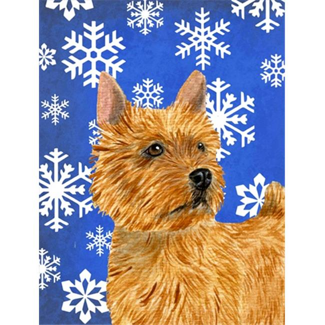 Carolines Treasures SS4637CHF 28 x 40 in. Norwich Terrier Winter Snowflakes Holiday Flag Canvas House Size - image 1 de 1