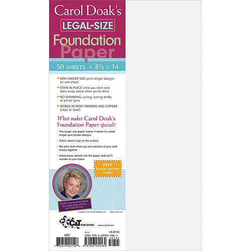 "Carol Doak's Foundation Legal Sized Paper 8-1/2"" x 14"" 50/pkg"