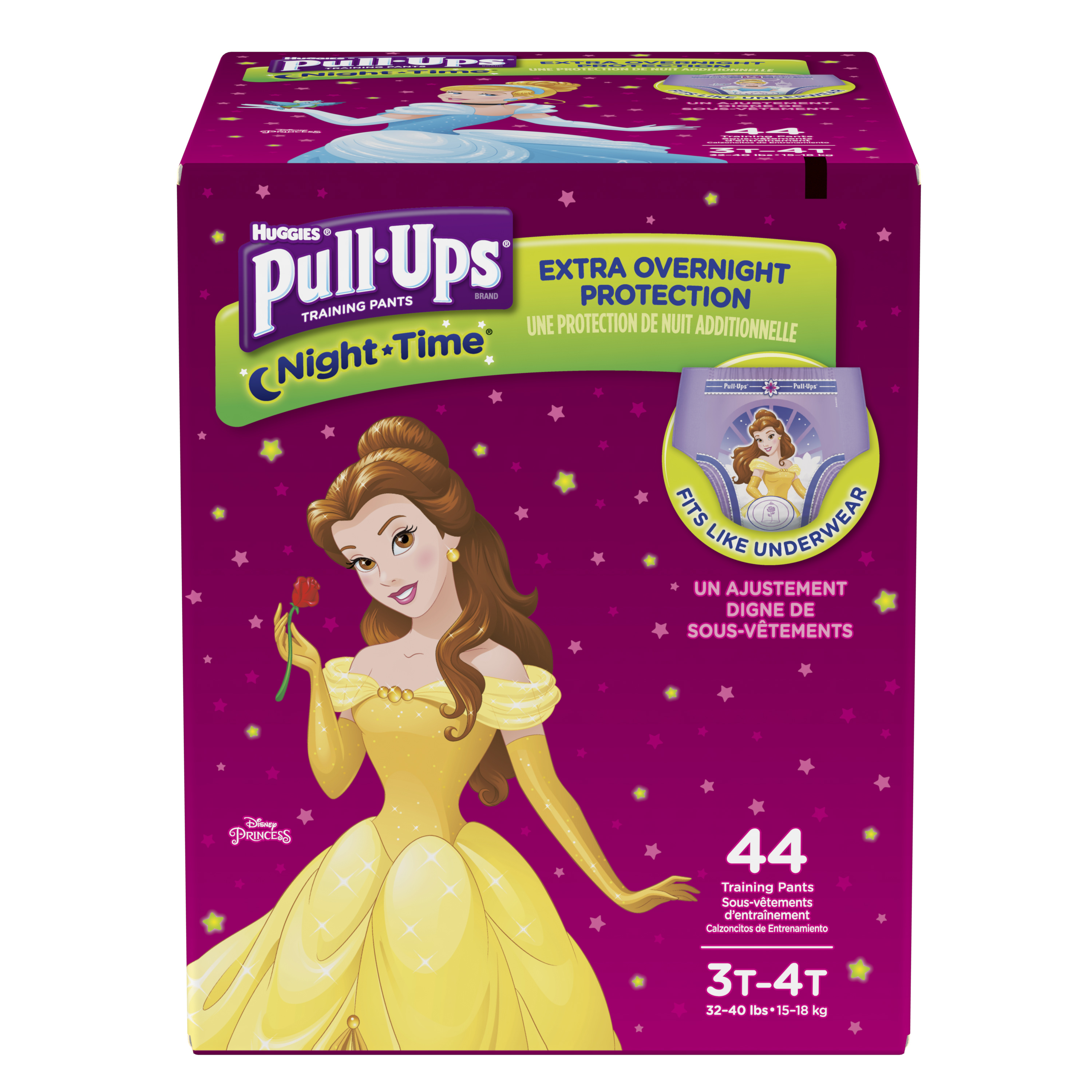 Pull-Ups Night-Time Potty Training Pants for Girls, 3T-4T (32-40 lb.), 44 Ct. (Packaging May Vary)