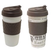 Design for Living 16 Ounce Mug, Brown and Coffee Talk Pattern, Set of 2