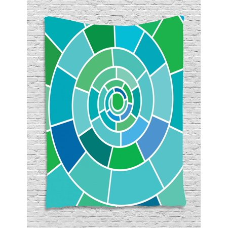 Geometric Tapestry, Large Kaleidoscopic Spiral Form with Rectangular Shapes in Green and Blue Shades, Wall Hanging for Bedroom Living Room Dorm Decor, 40W X 60L Inches, Multicolor, by (Shapes And Shades)
