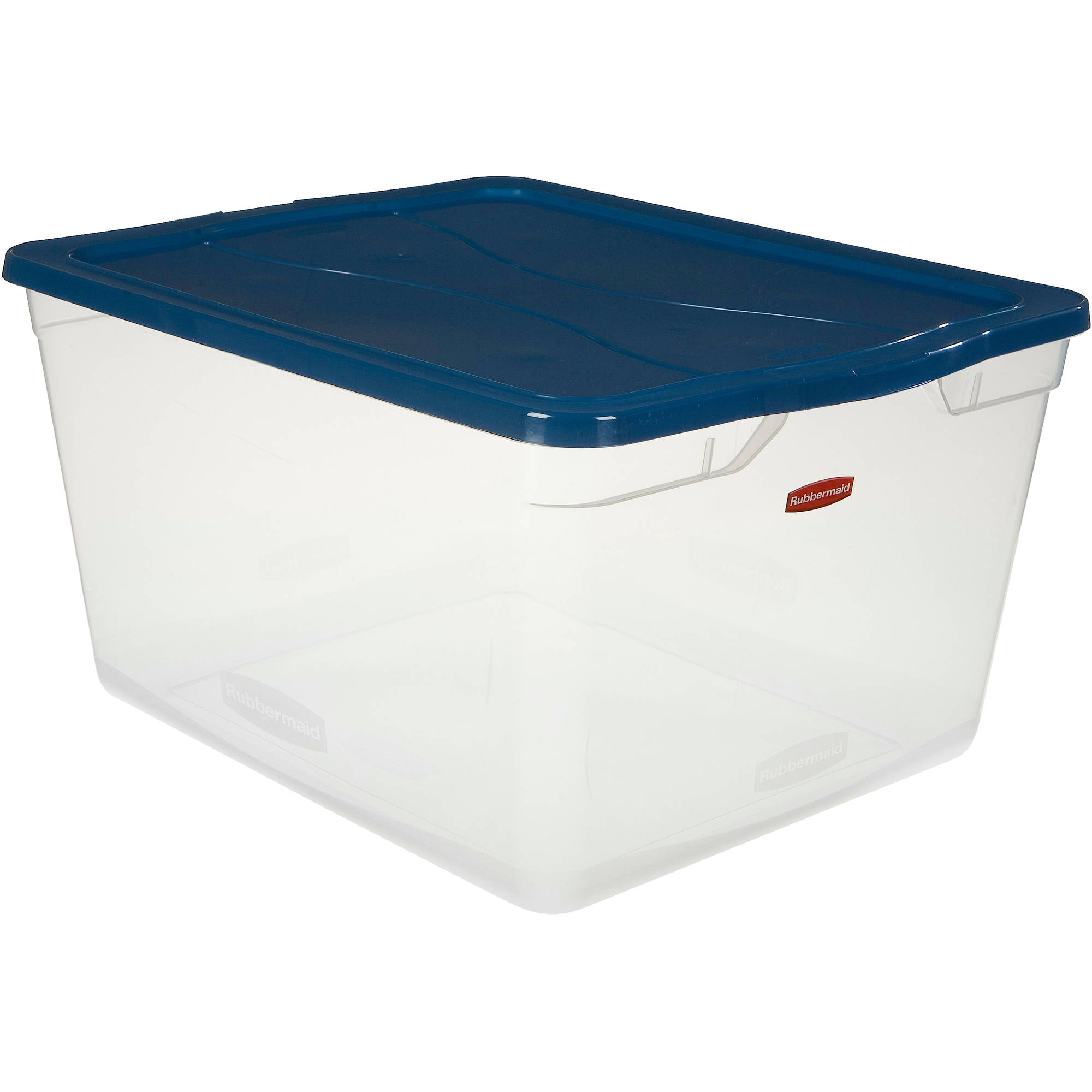 Rubbermaid 17.75-Gallon (71-Quart) Clever Store Container, Clear/Comfort Blue, Set of 4