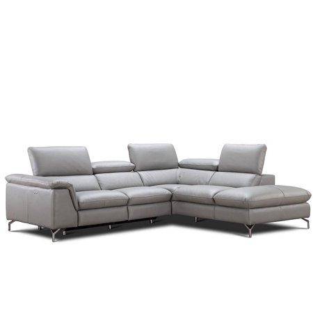 Pleasing Jm Viola Modern Premium Grey Italian Leather Sectional Sofa Right Hand Facing Short Links Chair Design For Home Short Linksinfo