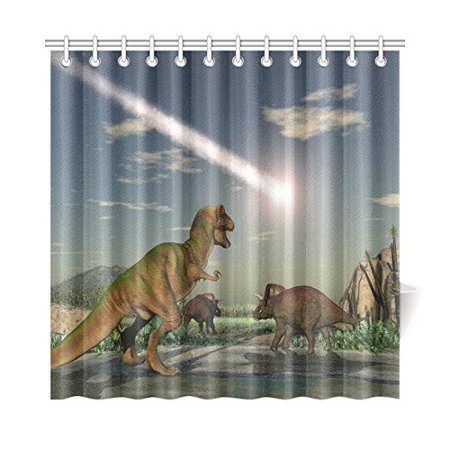 POP Asteroid Ancient Dinosaurs Prints Shower Curtain for Bathroom Sets 66x72 inch - image 3 of 3