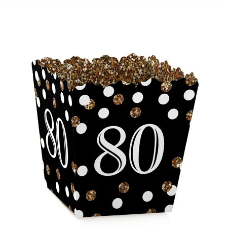 Adult 80th Birthday - Gold - Party Mini Favor Boxes - Birthday Party Treat Candy Boxes - Set of 12](Gold Party Boxes)