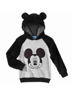 Disney Infant Boys Plush Black & Gray Mickey Mouse Hoodie Sweatshirt